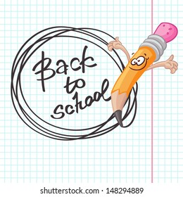 Illustration of funny pencil holding hands up. Back to school lettering. Cute elements for your school and note designs, etc.