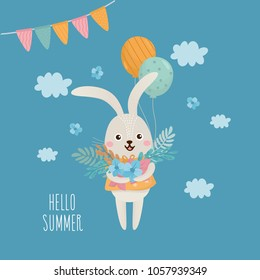Illustration with funny rabbit character and flowers bouquet. Romantic summer composition. Good for invitations, banners, greeting card, Birtday party.