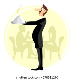 illustration of funny smiling waiter with a big nose and a mustache holding silver serving dome with arms stretched forward