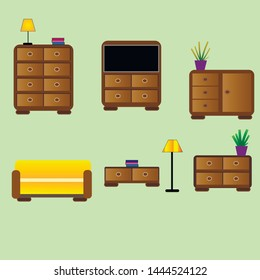 Illustration of furniture depicting a chest of drawers, sofa, lamp, tv, book flower vases on a green background