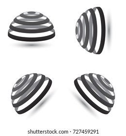 Illustration of a futuristic architect dome with black stripes and shadow under. Set of half globe geometric symbols.