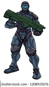 Illustration of futuristic soldier in high-tech exoskeleton armor suit holding big laser gun.