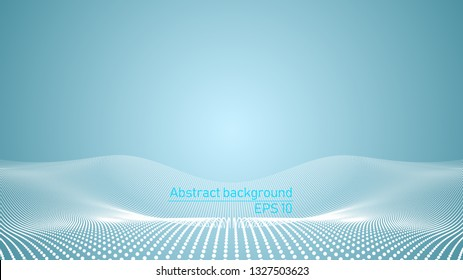 Illustration of futuristic vector background. Science or Technology concept. Vectorized 3d shape from white dots on blue background alike on 3d landscape. Template for designers
