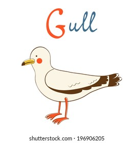 Illustration of G is for Gull. Vector format