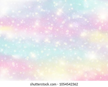 Illustration of galaxy fantasy background and pastel color.The unicorn in pastel sky with rainbow, candy and marble colorful background.