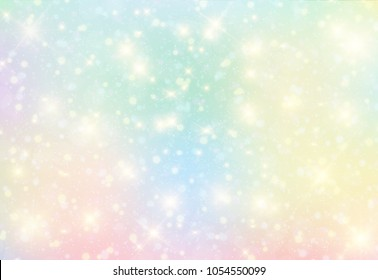 Illustration of galaxy fantasy background and pastel color.The unicorn in pastel sky with rainbow. Pastel clouds and sky with bokeh . Cute bright candy background .