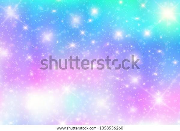 插图银河幻想背景和柔和的色彩 独角兽在柔和的天空彩虹 柔和的云彩和天空与散景 可爱的明亮的糖果背景 库存矢量图 免版税