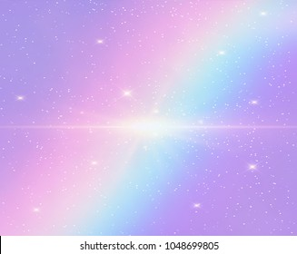 Illustration of galaxy holographic fantasy rainbow background and pastel color