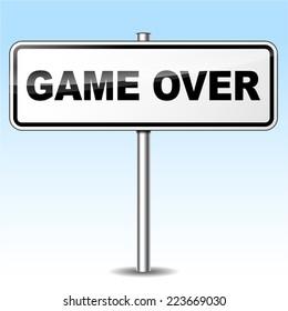 Illustration of game over sign on sky background