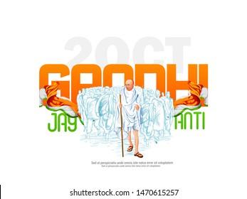 illustration of Gandhi Jayanti, 2nd October with tricolor background