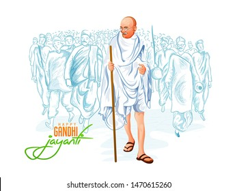 illustration of Gandhi Jayanti, 2nd October with tricolor background
