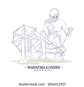 illustration of Gandhi Jayanti 2nd october with Nation Hero and Freedom Fighter Mahatma Gandhi