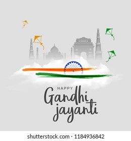 Illustration Of Gandhi Jayanti Background.