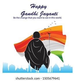 illustration for Gandhi jayanti, great Indian freedom fighter