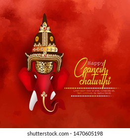 illustration of Ganesh chaturthi, Lord Ganesha face with hindi message vakratunda mahakaya Prayer, red background