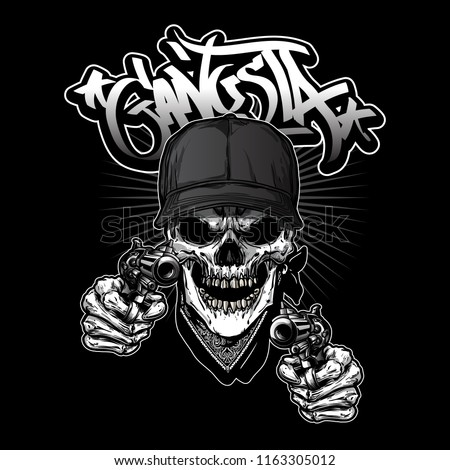 Illustration Of Gangsta Skull Holding Guns