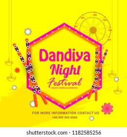 Illustration Of Garba Festival,Navratri Celebration,Gujarati Dandiya Night  Poster Or Banner Design,Easy To Edit.