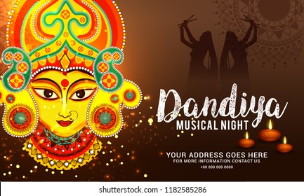 Illustration Of Garba Festival,Navratri Celebration,Gujarati Dandiya Night \nPoster Or Banner Design,Easy To Edit.