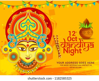 Illustration Of Garba Festival,Navratri Celebration,Gujarati Dandiya Night  Poster Or Banner Design,Easy To Edit.