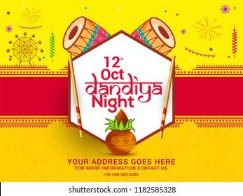 Illustration Of Garba Festival,Navratri Celebration,Gujarati Dandiya Night \nPoster Or Banner Design,Easy To Edit.
