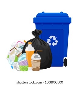 illustration garbage waste and bag plastic and blue recycle bin isolated on white, pile of plastic garbage waste many, plastic waste dump and bin blue, plastic waste and bin separation recycle