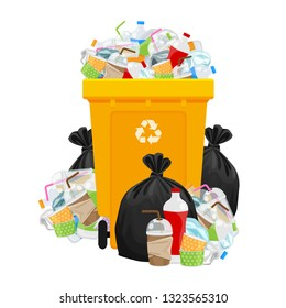 illustration garbage waste and bag plastic and yellow recycle bin isolated on white, pile of plastic garbage waste many, plastic waste dump and bin yellow, plastic waste and bin separation recycle