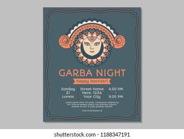 illustration of garbha night poster . A women dancing with dandiya in her hands.