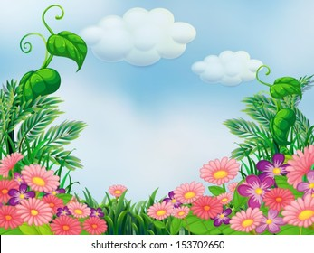 Illustration of a garden with blooming pink and violet flowers