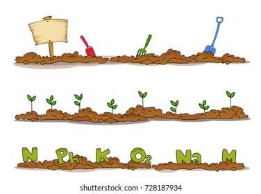 Illustration of Garden Soil Borders with Signboard, Shovel, Seedling and Nutrients like Nitrogen, Phosphorus and Potassium