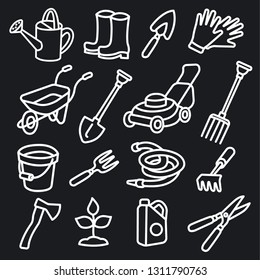 illustration of garden tools and equipment icon set
