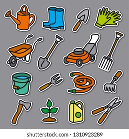 illustration of garden tools and equipment stickers set