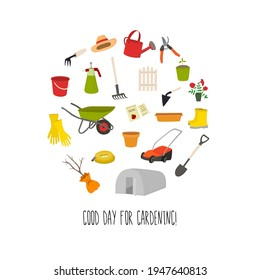 Illustration with garden tools. Rake, shovel, seedling, seedling, secateurs. For icons, stickers, banners, posters, cards. Сan be used to illustrate of articles, textbooks, posts.