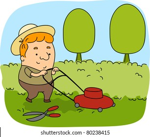 Illustration of a Gardener at Work