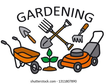 illustration of gardening logo and sign