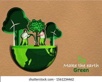 Illustration of gardening man and lady working on ecology half earth globe for Make The Earth Green.