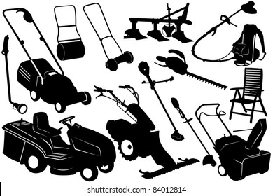 brush cutter images stock photos vectors shutterstock Hand Held Brush Cutter illustration of gardening tools and equipment