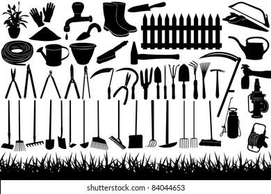 Illustration of gardening tools and equipment