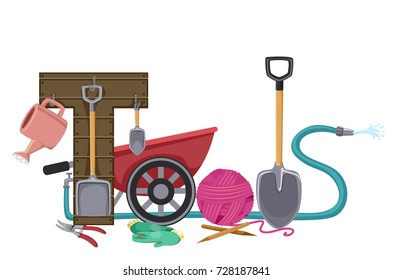 Illustration of Gardening Tools Lettering Made from Shovels, Wheelbarrow, Gloves and Hose