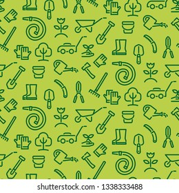 illustration of gardening tools seamless pattern