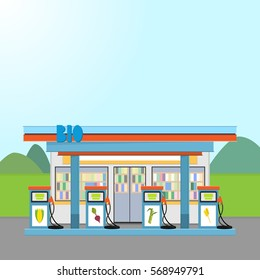 Illustration of gas station with biofuel. Landscape with road, field, mountains and buildings. Alternative energy and environment protection concept design.