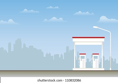 Illustration of a gas station in the city.