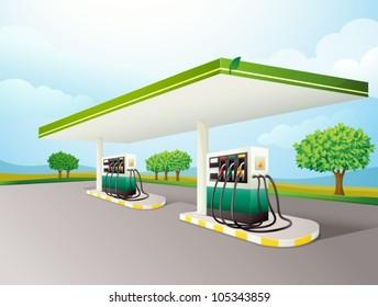 Illustration of a gas station scene