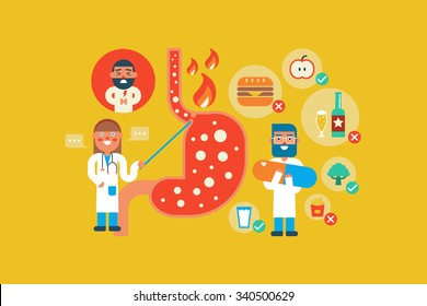 Illustration of Gastroesophageal reflux disease  flat design concept with icons elementsa
