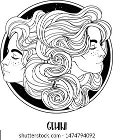 Illustration of Gemini astrological sign as a beautiful girl. Zodiac vector drawing isolated in black and white. Future telling, horoscope, alchemy, spirituality. Coloring book for adults.