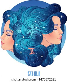 Illustration of Gemini astrological sign as two beautiful girls. Zodiac vector illustration isolated on white. Future telling, horoscope, alchemy, spirituality, occultism, fashion woman.