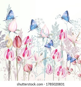 Illustration with gentle vector pink tulip and crocus flowers, blue butterflies, spring style