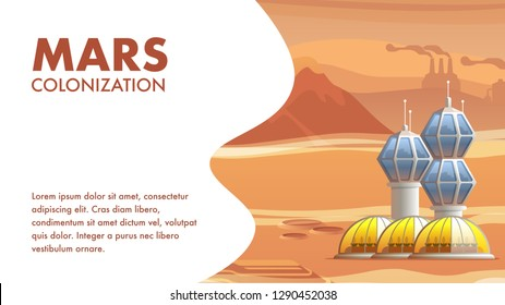 Illustration Geological Base Astronaut Settler. Banner Vector Mars Colonization. Colonization Deserted Red Planet First Astronaut. Growing Plants and Food in Space Greenhouse. Martian Base