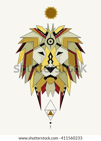 Illustration Geometric Lion Lion Considered By Vector De Stock