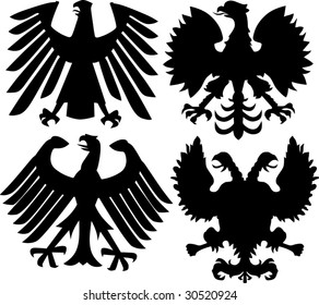 illustration with German, Polish and Russian heraldic eagles