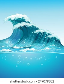 Illustration of a giant wave in the ocean